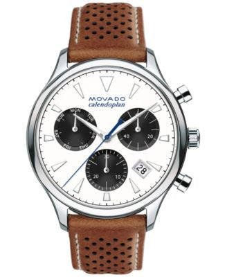 Movado Men's Swiss Chronograph Heritage Series Calendoplan Cognac Leather Strap Watch 43mm 3650008