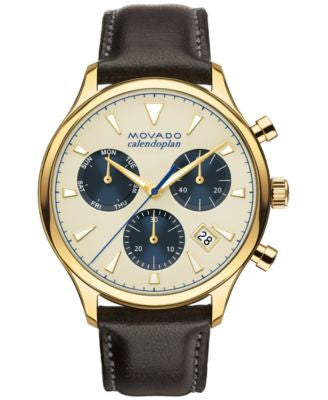 Movado Men's Swiss Chronograph Heritage Series Calendoplan Black Leather Strap Watch 43mm 3650007