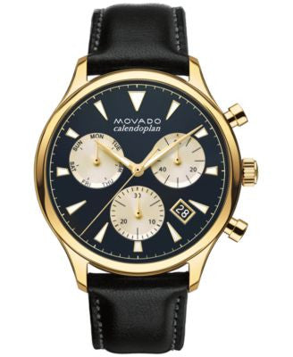Movado Men's Swiss Chronograph Heritage Series Calendoplan Black Leather Strap Watch 43mm 3650006