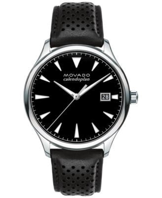 Movado Men's Swiss Heritage Series Calendoplan Black Leather Strap Watch 40mm 3650004