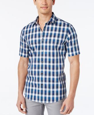 Alfani Men's Check Short-Sleeve Shirt, Slim Fit