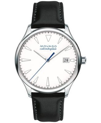 Movado Men's Swiss Heritage Series Calendoplan Black Leather Strap Watch 40mm 3650002