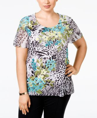 JM Collection Plus Size Embellished Chiffon-Sleeve Top, Only at Vogily