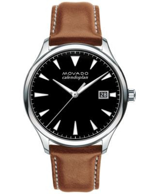 Movado Men's Swiss Heritage Series Calendoplan Cognac Leather Strap Watch 40mm 3650001