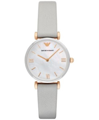 Emporio Armani Women's Gianni T-Bar Gray Leather Strap Watch 32mm AR1965