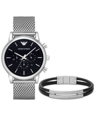 Emporio Armani Men's Chronograph Luigi Stainless Steel Mesh Bracelet Watch and Bracelet Set 46mm AR8