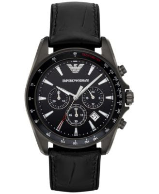 Emporio Armani Men's Chronograph Sigma Black Leather Strap Watch 44mm AR6097