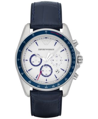 Emporio Armani Men's Chronograph Sigma Blue Leather Strap Watch 44mm AR6096