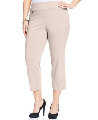 Alfani Plus Size Pull-On Capri Pants, Only at Vogily