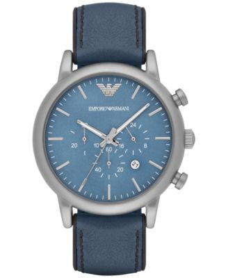 Emporio Armani Men's Chronograph Luigi Blue Leather Strap Watch 46mm AR1969