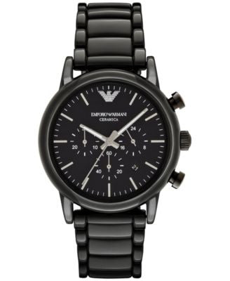 Emporio Armani Men's Chronograph Luigi Black Ceramic Bracelet Watch 43mm AR1507