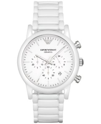 Emporio Armani Men's Chronograph Luigi White Ceramic Bracelet Watch 43mm AR1499