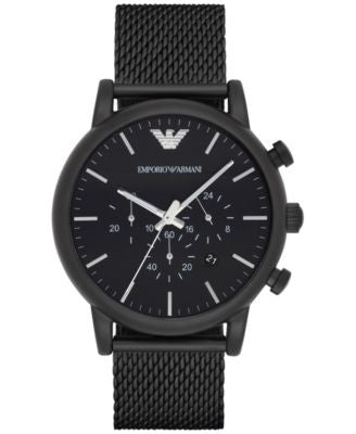 Emporio Armani Men's Chronograph Luigi Black Stainless Steel Mesh Bracelet Watch 46mm AR1968