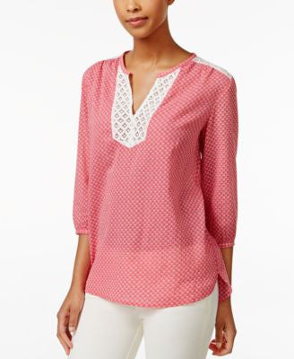 Tommy Hilfiger Printed Lace-Trim Peasant Top