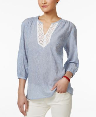 Tommy Hilfiger Striped Lace-Trim Peasant Top