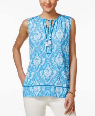 Tommy Hilfiger Sleeveless Medallion-Print Top