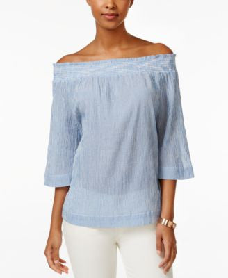 Tommy Hilfiger Striped Off-The-Shoulder Top