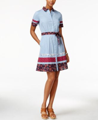 Tommy Hilfiger Patchwork Fit & Flare Shirtdress