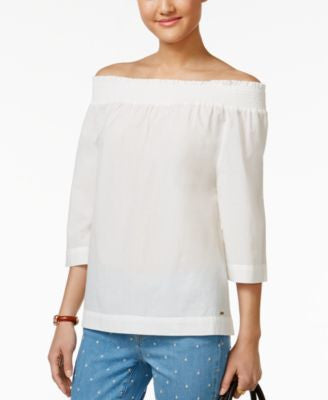 Tommy Hilfiger Three-Quarter-Sleeve Off-The-Shoulder Top