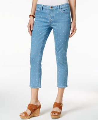 Tommy Hilfiger Embroidered-Dot Cropped Jeans