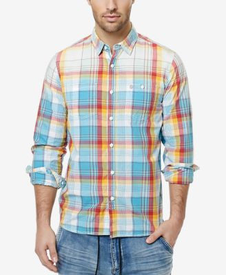 Buffalo David Bitton Men's Sijax Rainbow Plaid Shirt