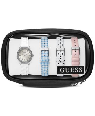 GUESS Women's White Silicone Strap Watch and Interchangeable Leather Straps Set 27mm U0784L1