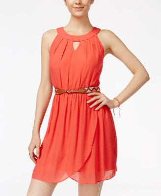 BCX Juniors' Belted Faux-Wrap A-Line Dress