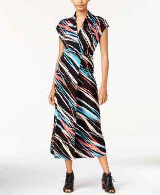 kensie Ribbon-Print Faux-Wrap Maxi Dress