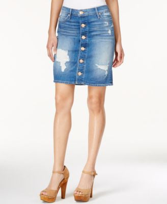 True Religion Button-Up Ripped Denim Skirt