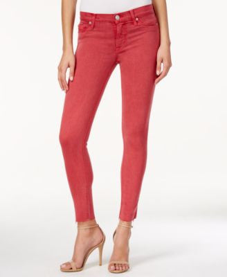 Hudson Jeans Nico Red Stone Wash Cutoff Skinny Ankle Jeans