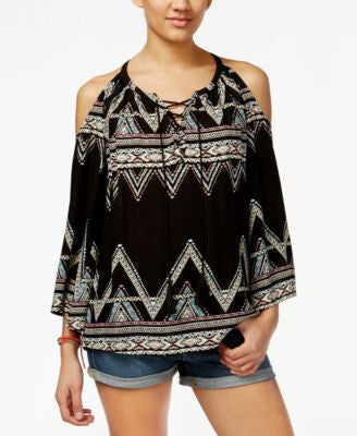 Jessica Simpson Shayna Chevron Cold-Shoulder Peasant Top