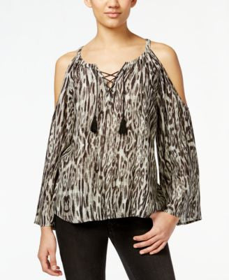 Jessica Simpson Shayna Animal-Print Cold-Shoulder Peasant Top
