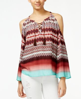 Jessica Simpson Shayna Ikat-Print Cold-Shoulder Peasant Top