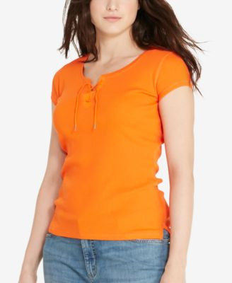 Lauren Ralph Lauren Plus Size Lace-Up T-Shirt