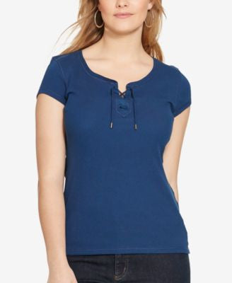 Lauren Ralph Lauren Plus Size Ribbed T-Shirt