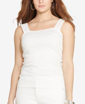 Lauren Ralph Lauren Plus Size Lace-Trimmed Tank Top