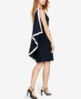 Lauren Ralph Lauren One-Shoulder Cape Dress
