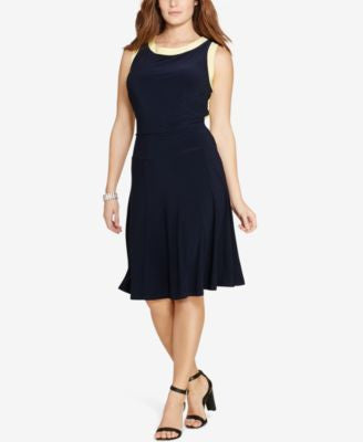 Lauren Ralph Lauren Plus Size Colorblocked Jersey Dress