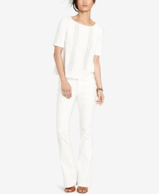 Lauren Ralph Lauren Pintucked Lace-Inset T-Shirt