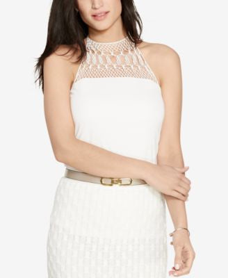 Lauren Ralph Lauren Crocheted-Yoke Halter Top