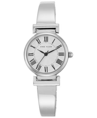 Anne Klein Women's Silver-Tone Bangle Bracelet Watch 28mm AK-2229SVSV