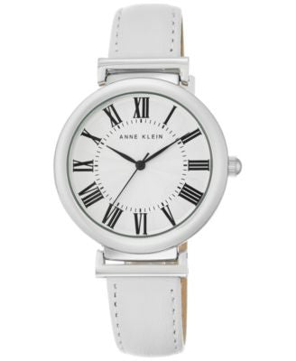 Anne Klein Women's White Leather Strap Watch 38mm AK/2137SVWT