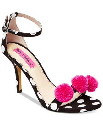 Betsey Johnson Lylly Two-Piece Pom-Pom Sandals