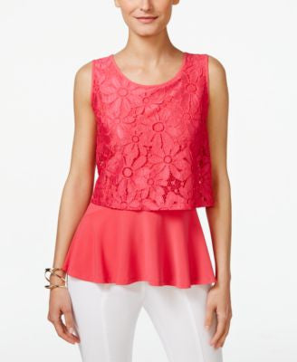 NY Collection Petite Lace-Popover Sleeveless Blouse