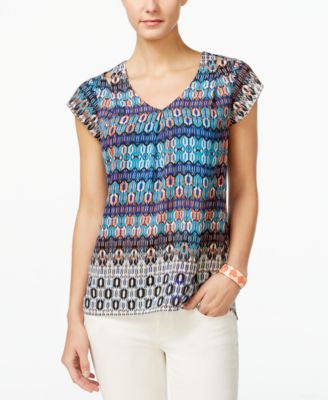 NY Collection Petite Printed Cutout-Shoulder Blouse