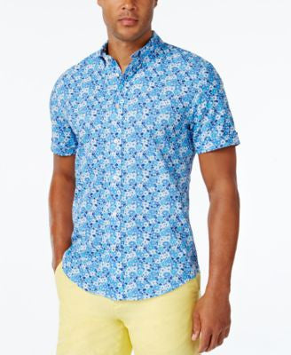 Tommy Hilfiger Men's Caste Floral-Print Short-Sleeve Shirt