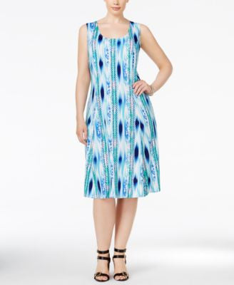 NY Collection Plus Size Ikat-Printed Shift Dress