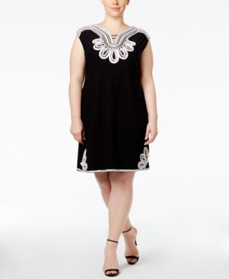 Alfani Plus Size Embroidered Shift Dress, Only at Vogily