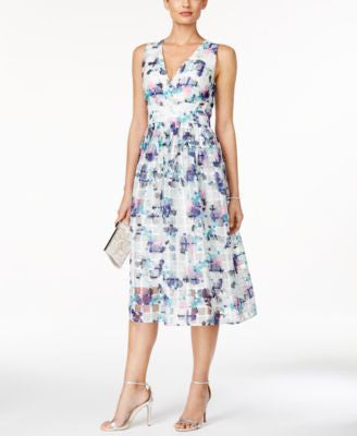 Ivanka Trump Printed Fit & Flare Midi Dress