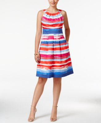 Nine West Halter Striped Fit & Flare Dress